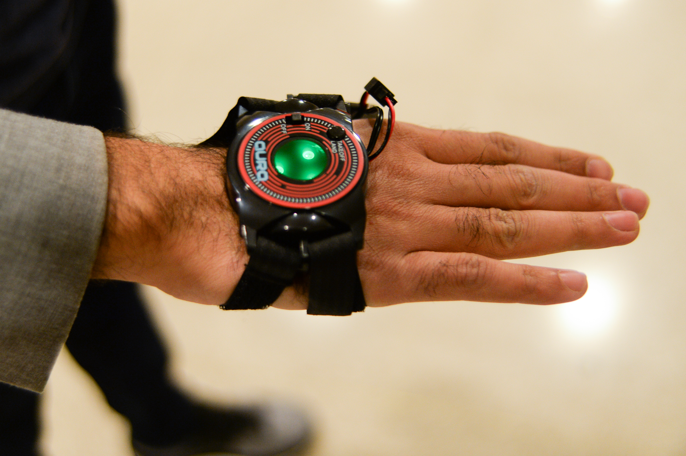 The controller Pramod Abichandani and his team developed detects hand gestures and movement to direct the Aura drone.