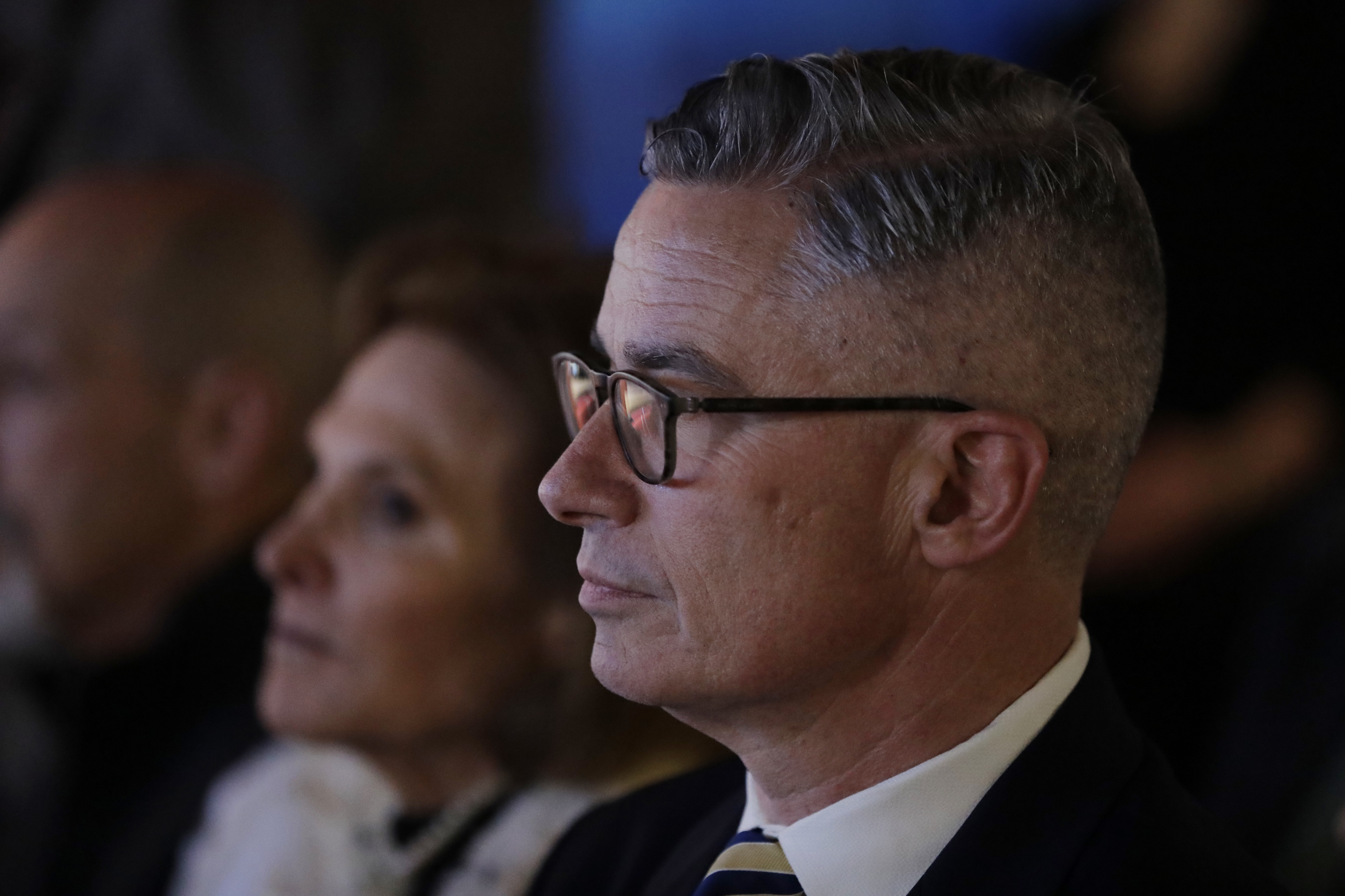 Former New Jersey Gov. Jim McGreevey looks on before the start of a Democratic gubernatorial primary debate, Thursday, May 11, 2017, in Newark, N.J.