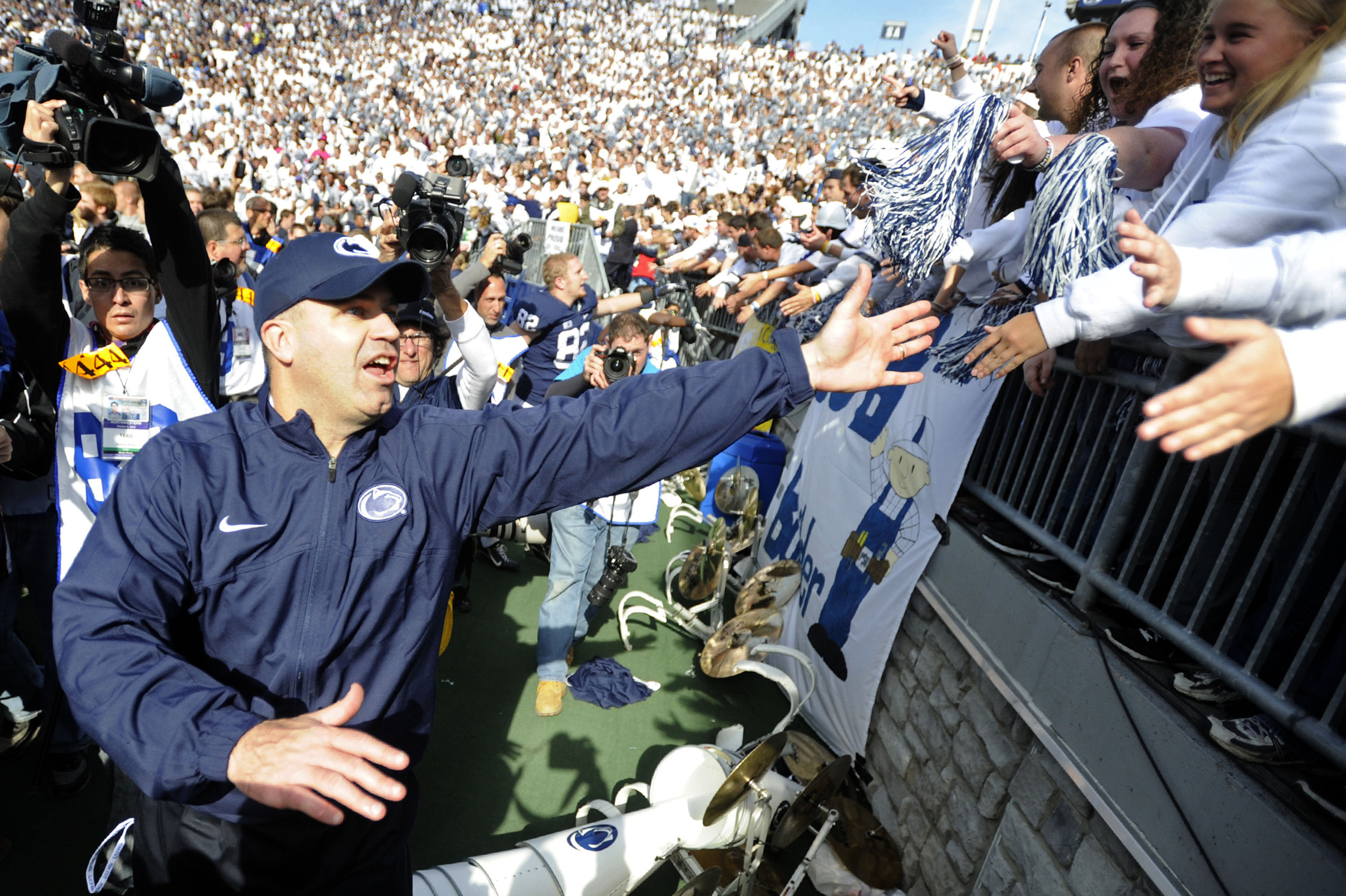Penn State head coach Bill O´Brien celebrates with the student section after a 39-28 win against Northwestern on Saturday, October 6, 2012, at Beaver Stadium in University Park, Pennsylvania. (Christopher Weddle/Centre Daily Times/MCT)