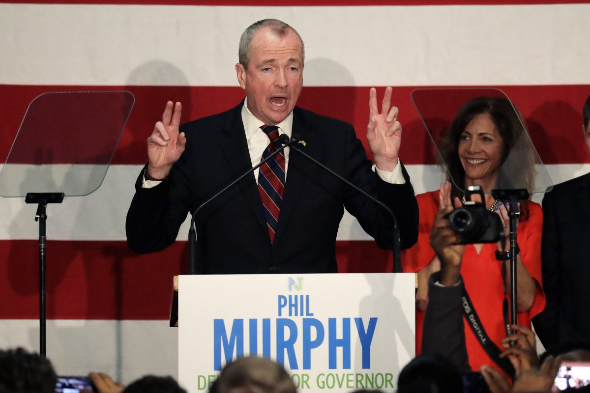 Phil Murphy speaks to supporters during a Democratic primary election watch party at the Robert Treat Hotel, Tuesday, June 6, 2017, at in Newark, N.J.