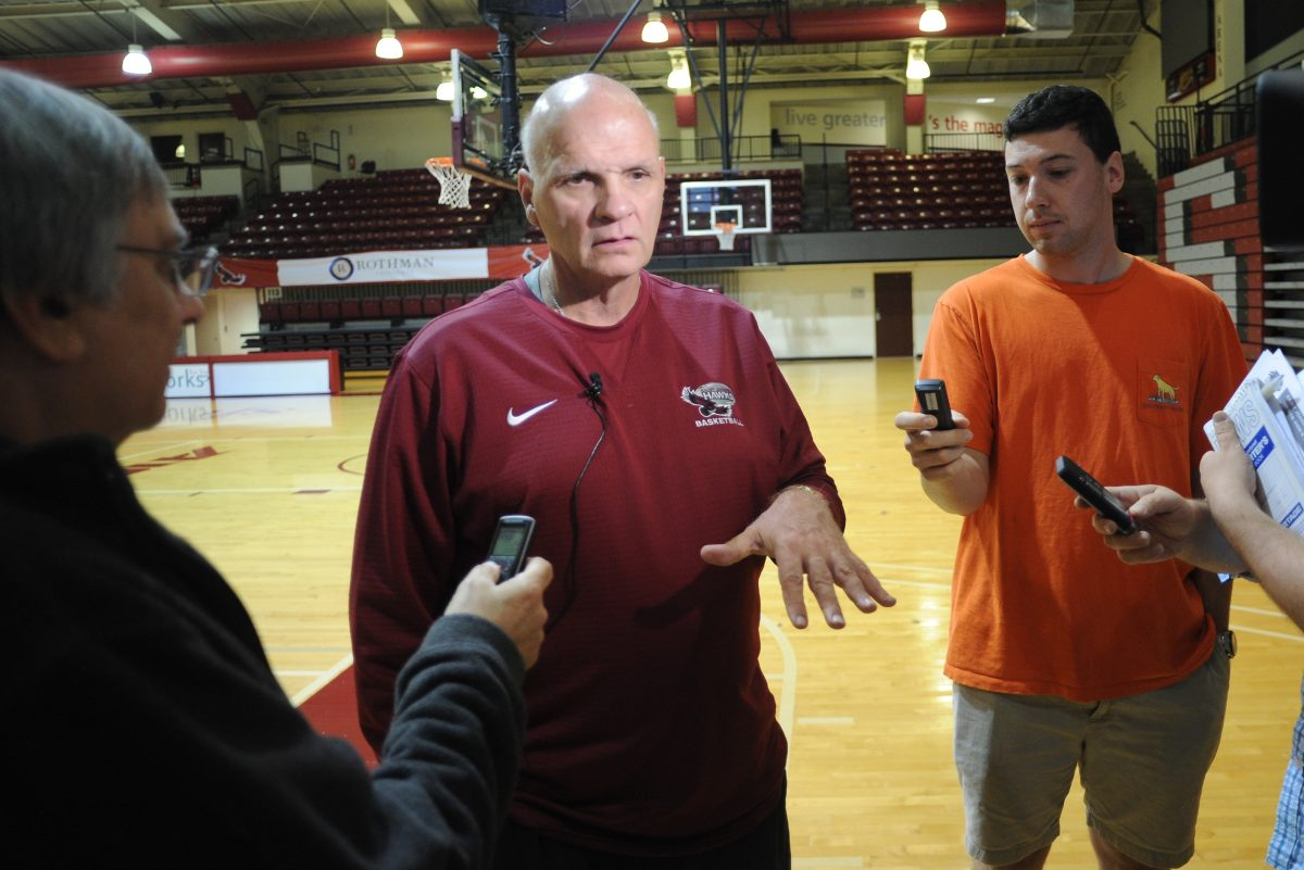 St. Joseph's University head basketball coach Phil Martelli speaks with the media during St. Joseph's University basketball media day Thursday, November 02, 2017 at Hagan Arena in Philadelphia, Pennsylvania. (WILLIAM THOMAS CAIN / For The Philadelphia Inquirer)
