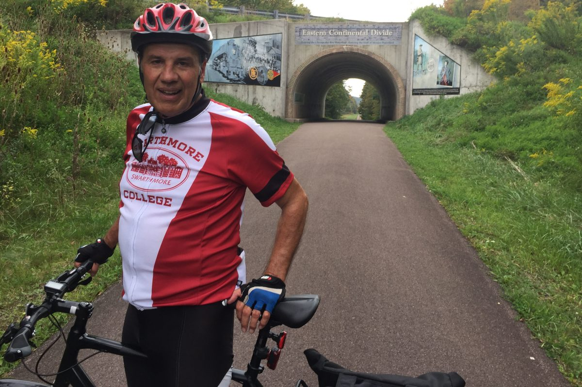 Matt Zencey on the Great Allegheny Passage trail,  a 150-mile stretch from Cumberland, Md., north to Pittsburgh.