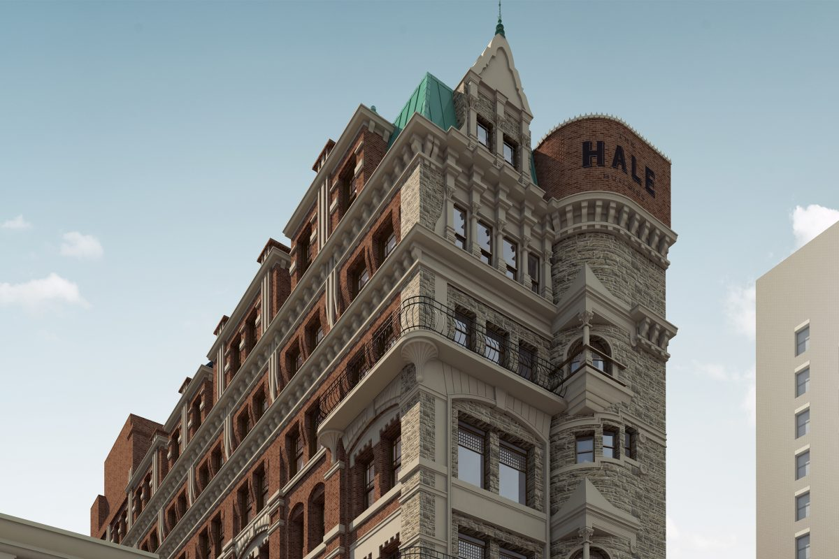 Artist's rendering of Hale Building following renovations.