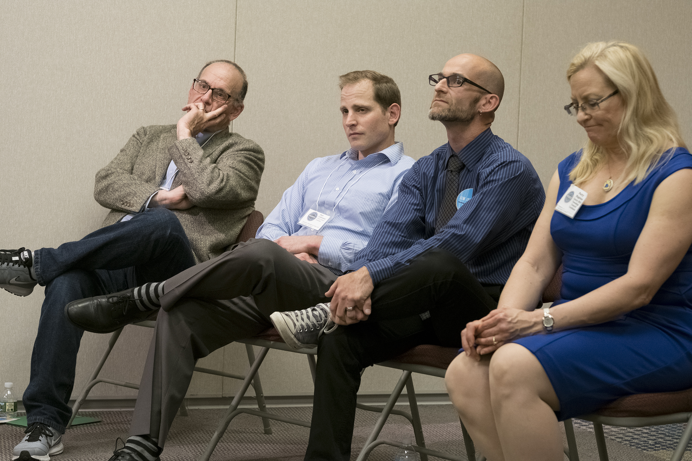 Progressives failed to unseat party regulars in Cherry Hill. The candidates were (from left) Scott Soffen, Mark Gulbranson Jr, Joshua Hare. and Patty Magnus. (ED HILLE / Staff)