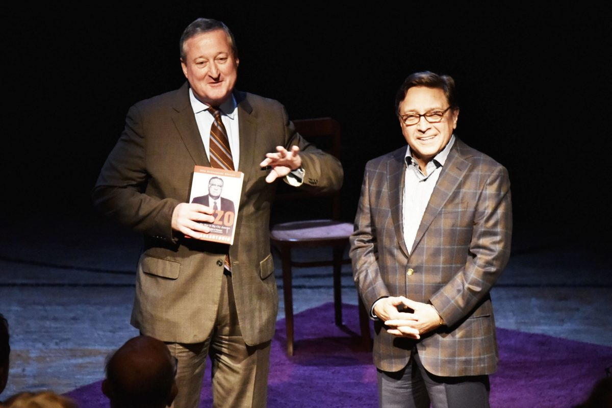 "As a candidate for mayor in 2015, Jim Kenney (left) was happy to attend the opening of the play ""Rizzo,"" along with former Councilman Frank DiCicco."