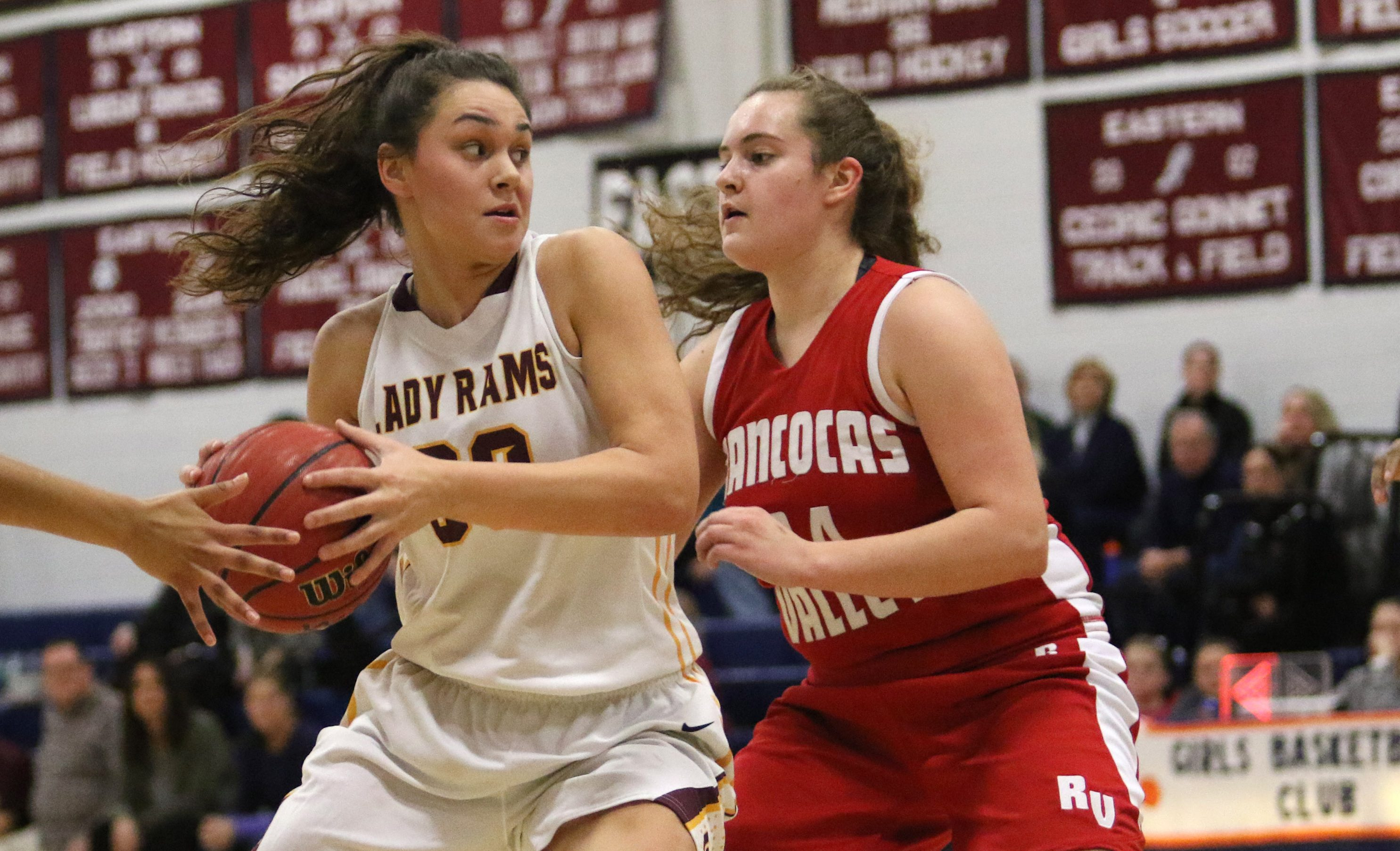 Gloucester Catholic´s Mary Gedaka, left, drives against Rancocas Valley´s Katie McShea during a February 2016 game.