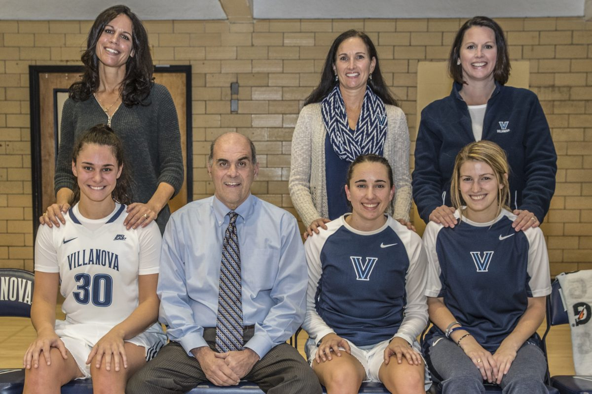 Three daughters of former Villanova players who played for head coach Harry Perretta with their daughters. From left: Lisa Gedaka and her daughter Mary Gedaka, head coach Harry Perretta, Denise Juliana and her daughter Nicolette Juliana, and Jen Snell and her daughter, Sam Carangi.