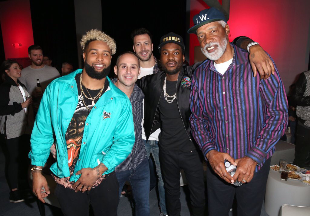 NFL player Odell Beckham Jr., Fanatics founder Michael Rubin, NFL´s Connor Barwin, rapper Meek Mill and Sixers great Julius Erving at Fanatics´ Super Bowl party in Houston, February 2017. PHOTO FROM MEEK MILL´s TWITTER.