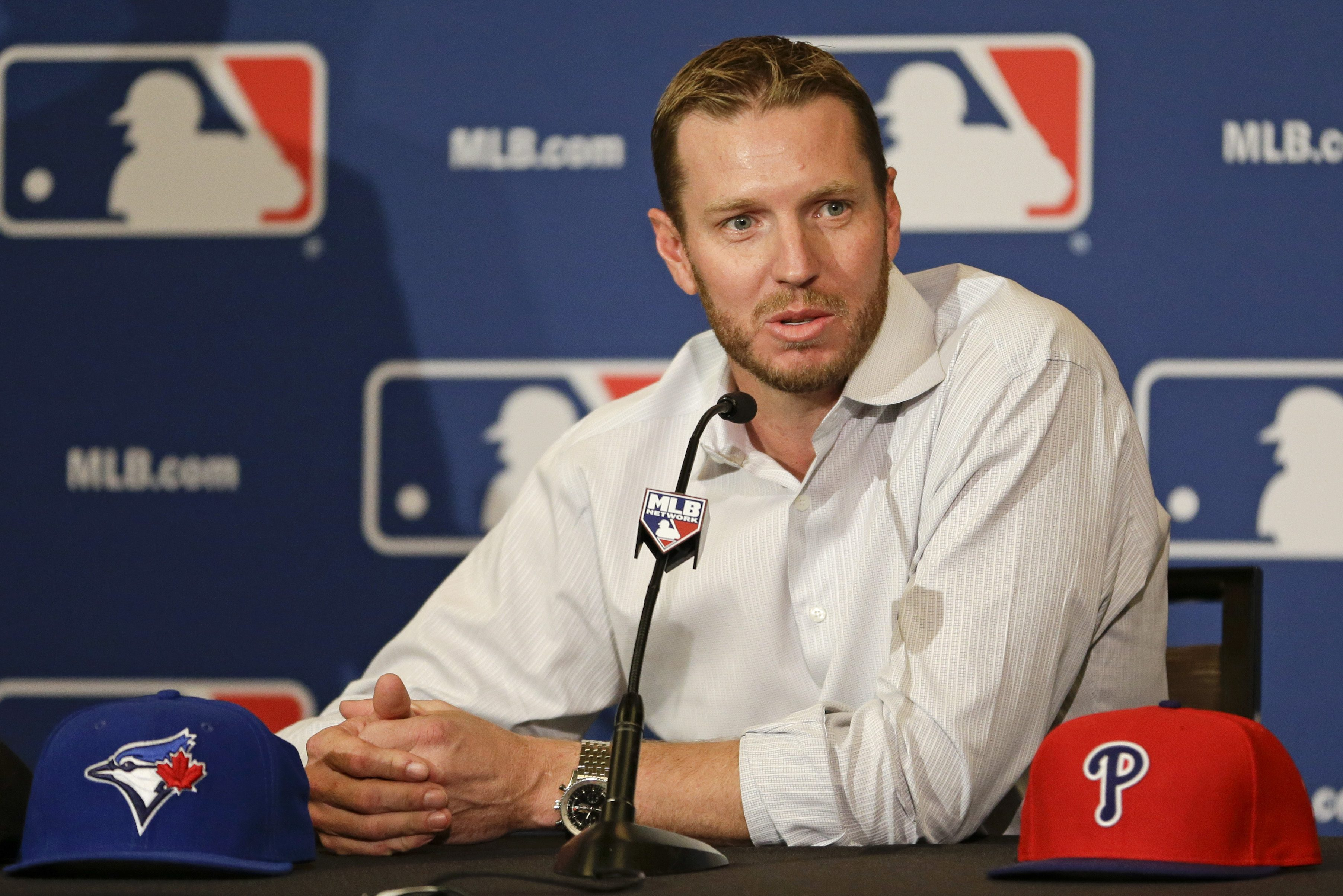 Roy Halladay at his retirement press conference in December 2013.