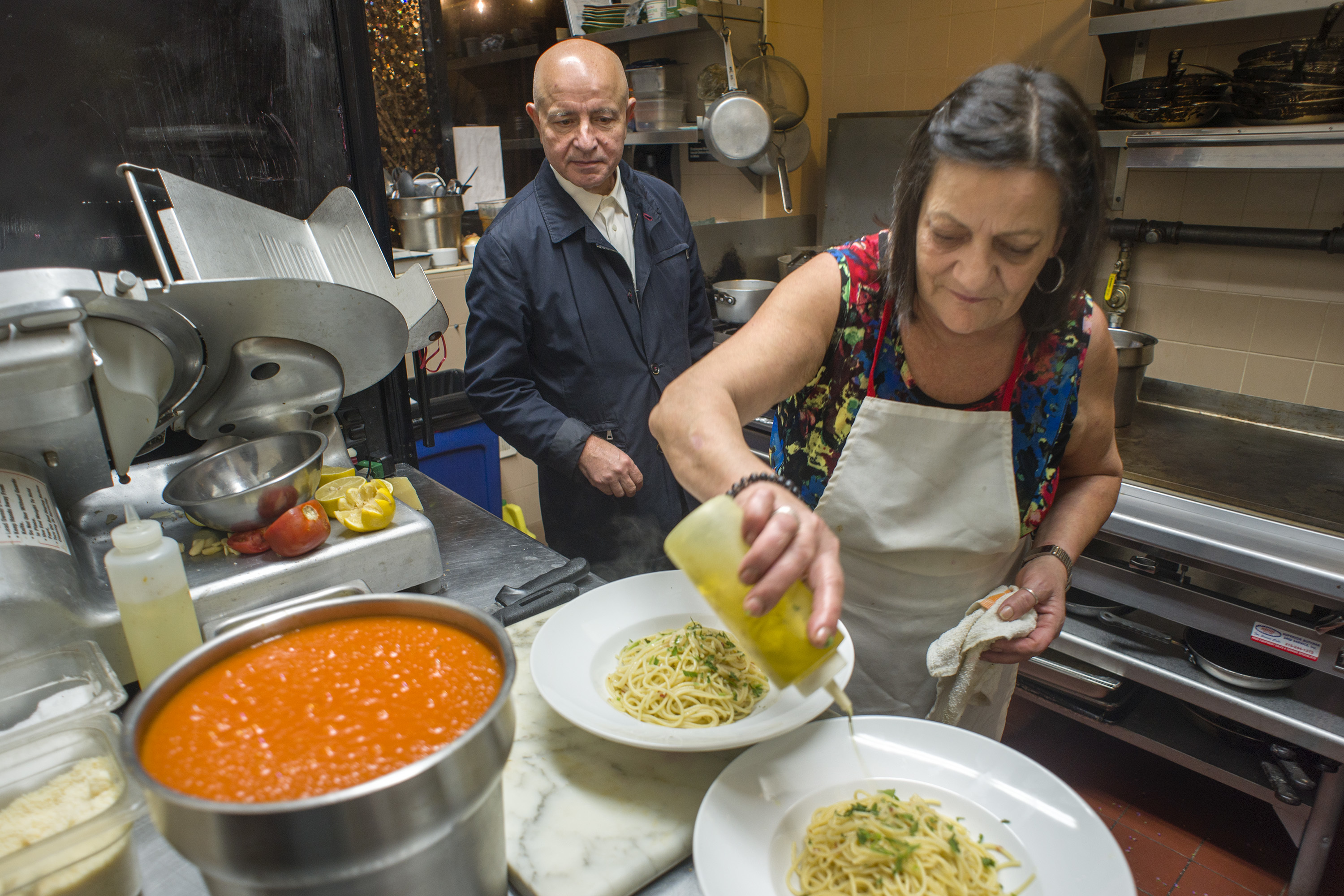 Owners Franco and Angela Iovino are in the kitchen at tiny Angelina´s in South Philadelphia.