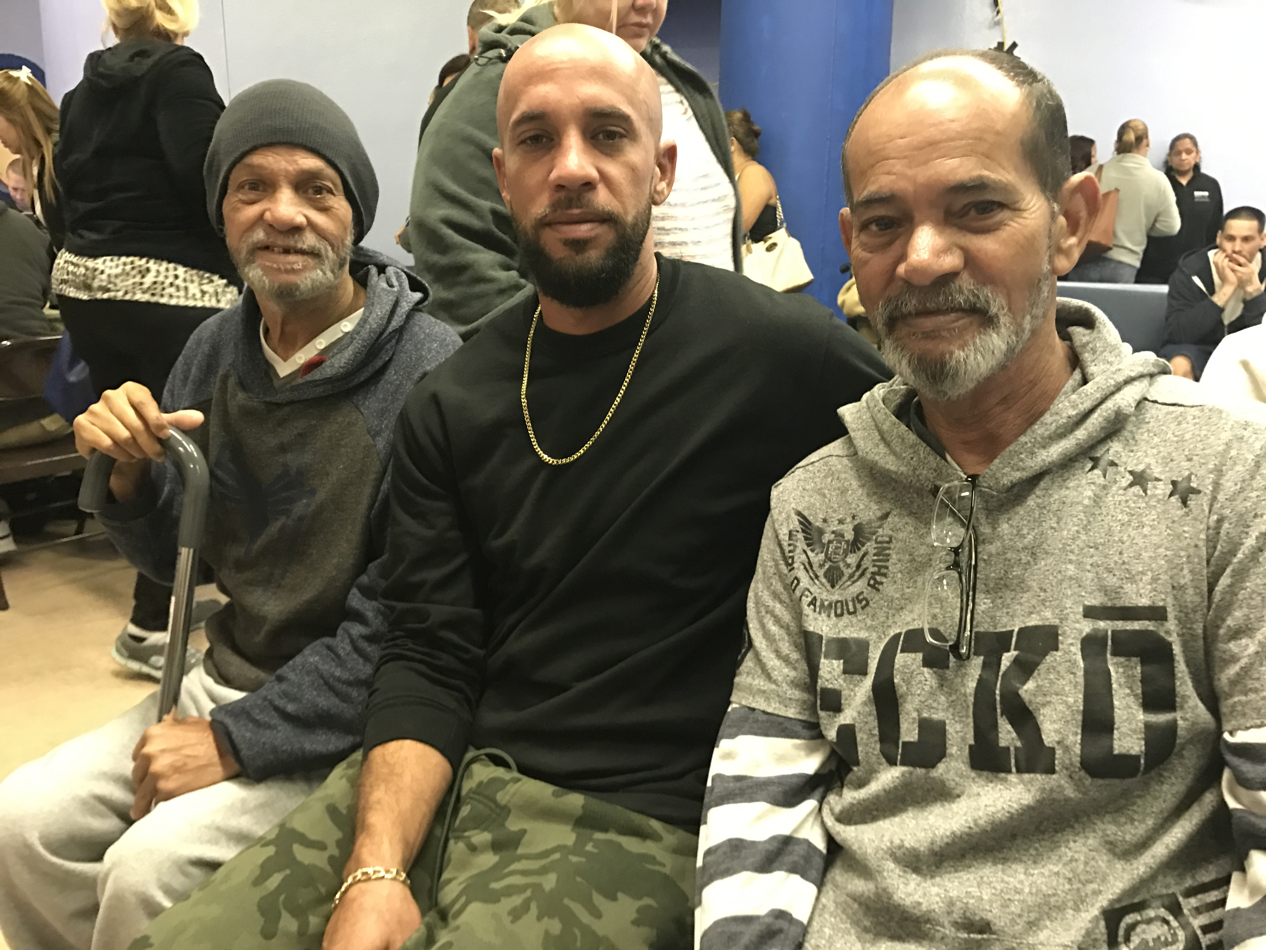 Victor Torres Jr. (center), his father Victor Tores Sr. (right) and his uncle Hector Torres (left) moved to Philadelphia after their homes in Puerto Rico were damaged by Hurricane Maria. They have one relative in Philadelphia.