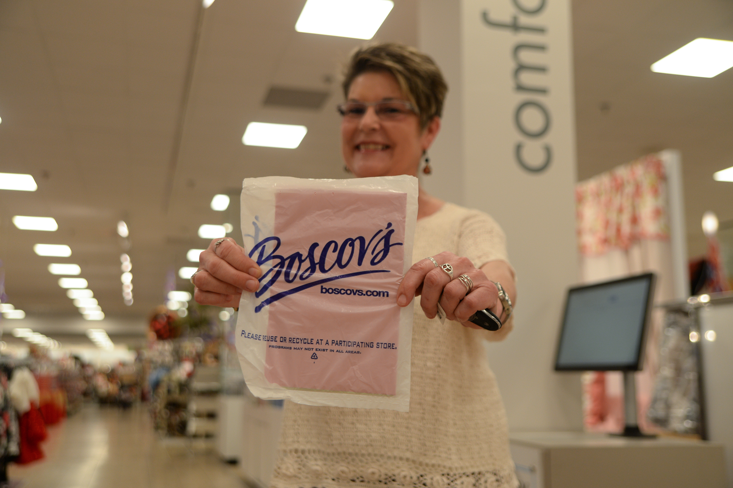 Karin Damiani, 64,frequently shops at Boscov´s and took note of the ways in which the Media Boscov´s recent renovations included wider aisles and larger signage to accommodate older customers.