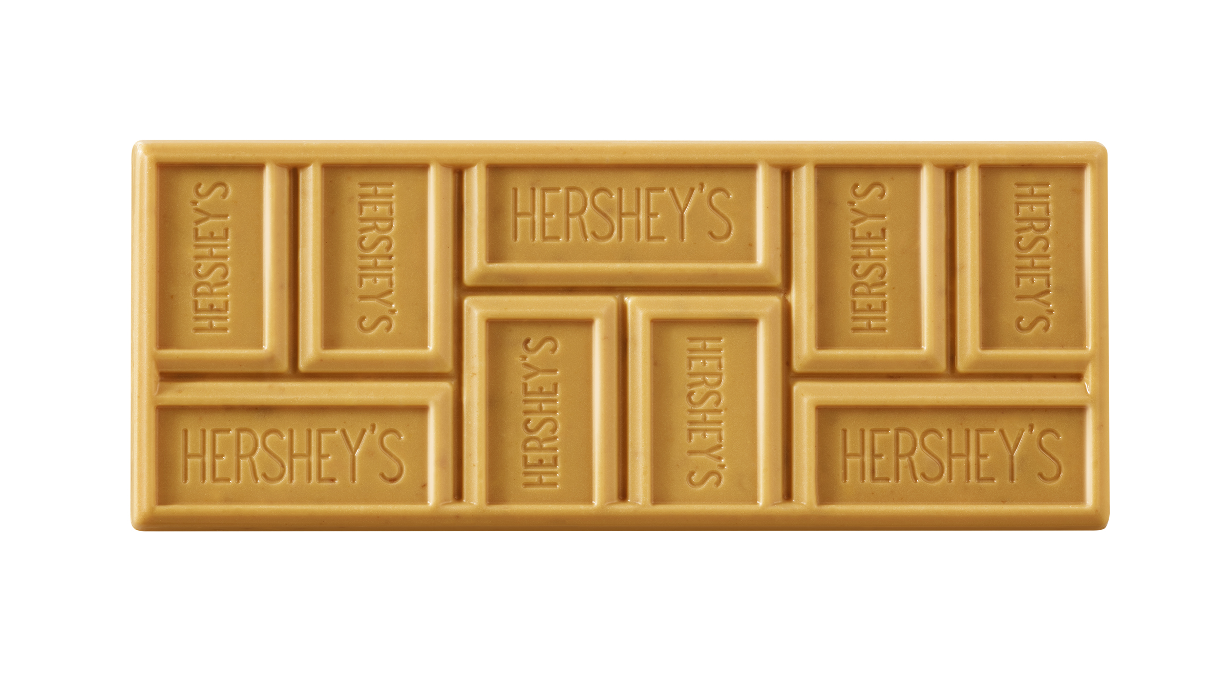 "Hershey Co. says it has changed the eating experience with the new ""grid"" on the Hershey Gold bars."