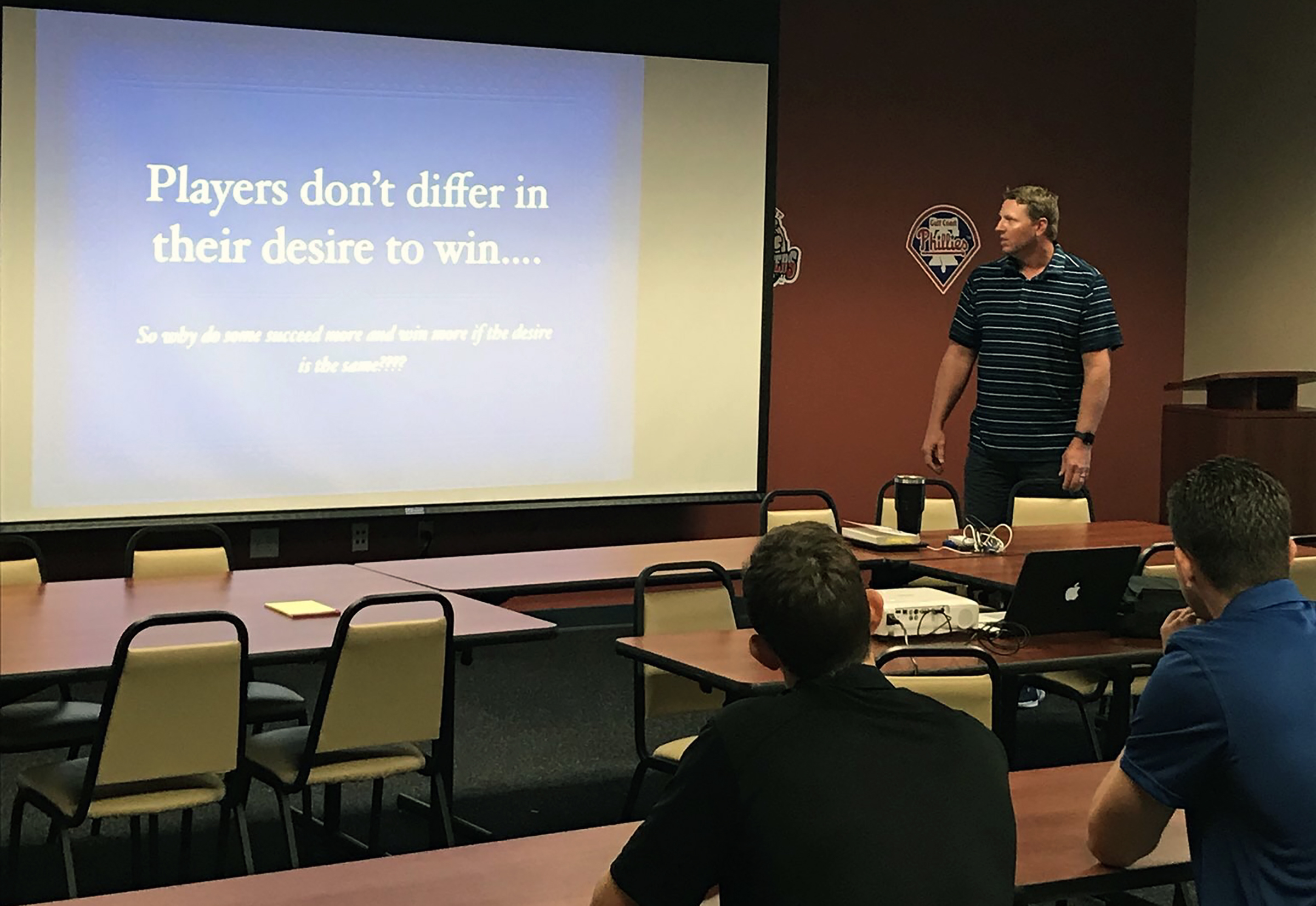 Roy Halladay on Monday, a day before he died, giving a lecture to Phillies minor leaguers in Clearwater.