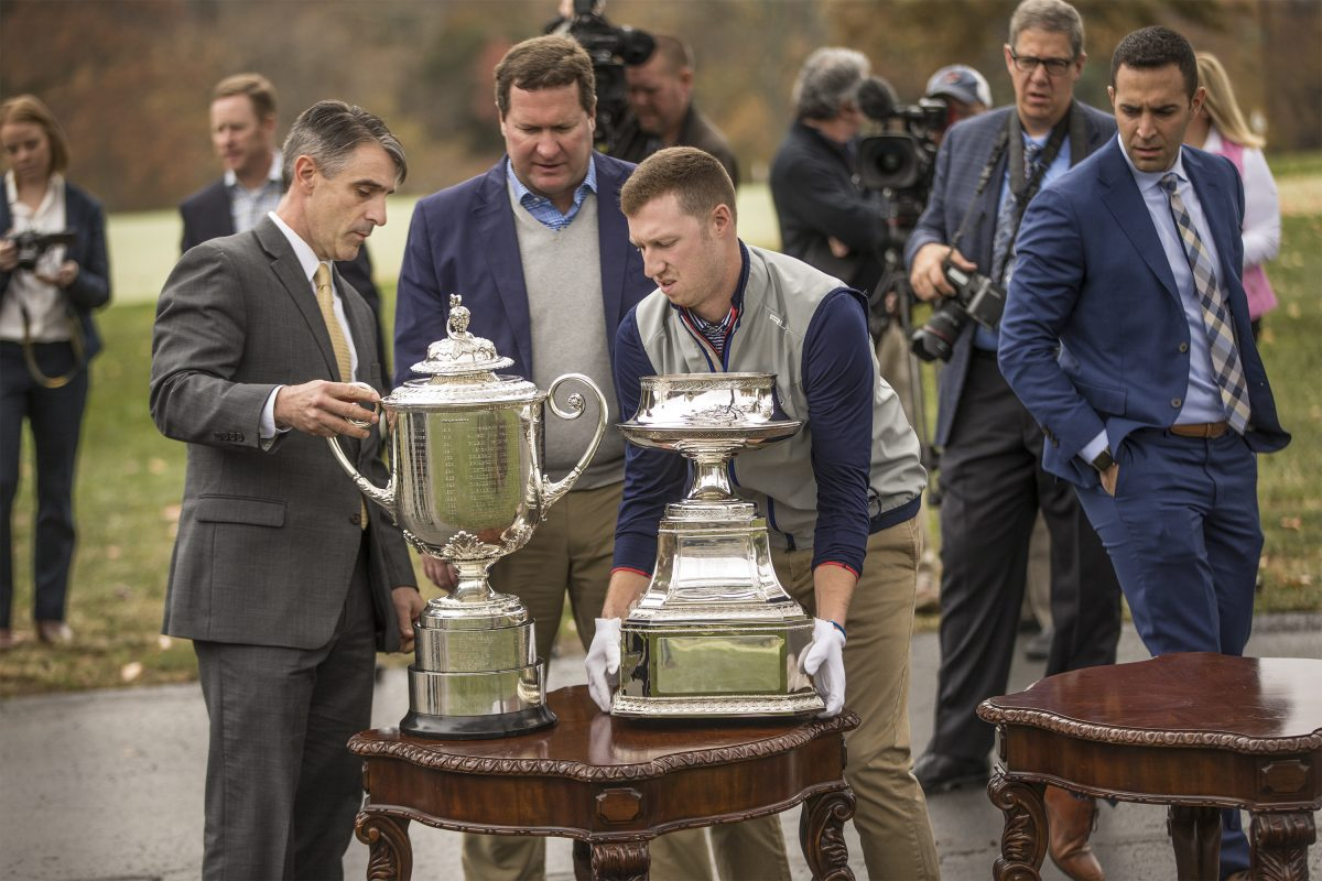 The PGA's men's and women's championship trophies were on display at Aronimink as the club was awarded hosting rights for the 2020 women's and the 2027 men's PGA championships.