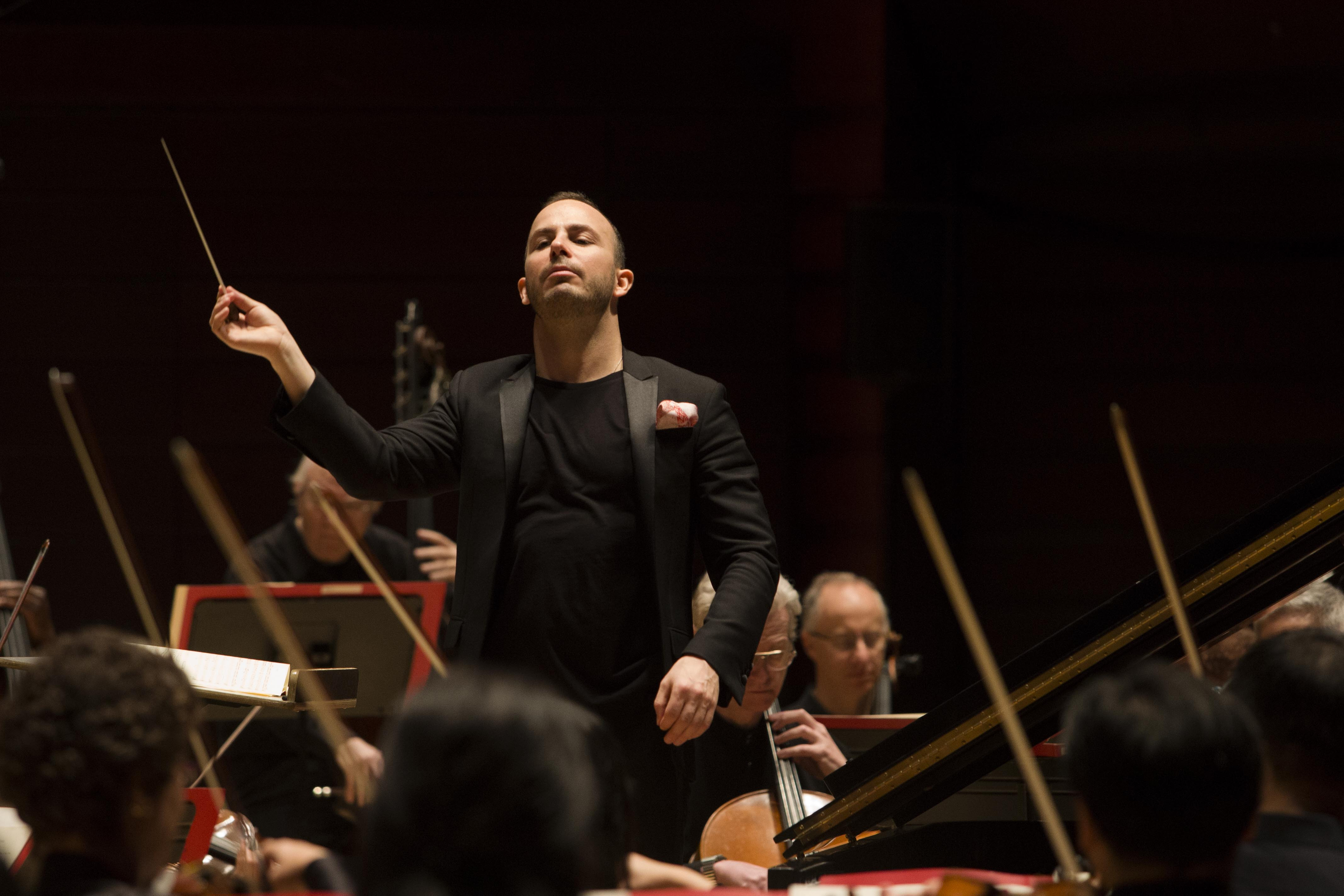 Yannick Nezet-Seguin. conducting the Philadelphia Orchestra. JENNIFER KERRIGAN / Staff Photographer