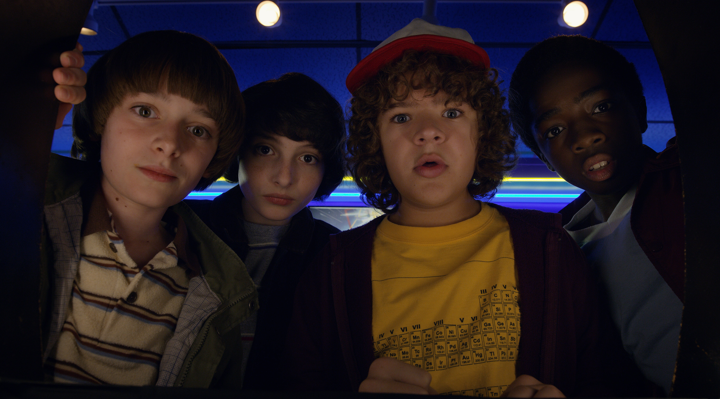 "Noah Schnapp, Finn Wolfhard, Gaten Matarazzo and Caleb Mclaughlin in ""Stranger Things."" (Netflix)"