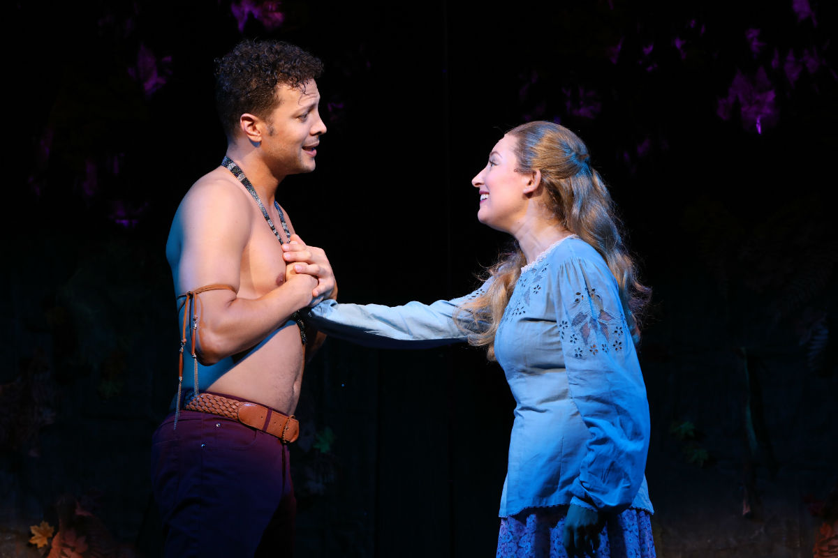 """Justin Guarini as Santuit and Jillian Gottlieb as Susanna Standish in the world-premiere of """"The New World,"""" through Dec. 2 at Bucks County Playhouse in New Hope."""