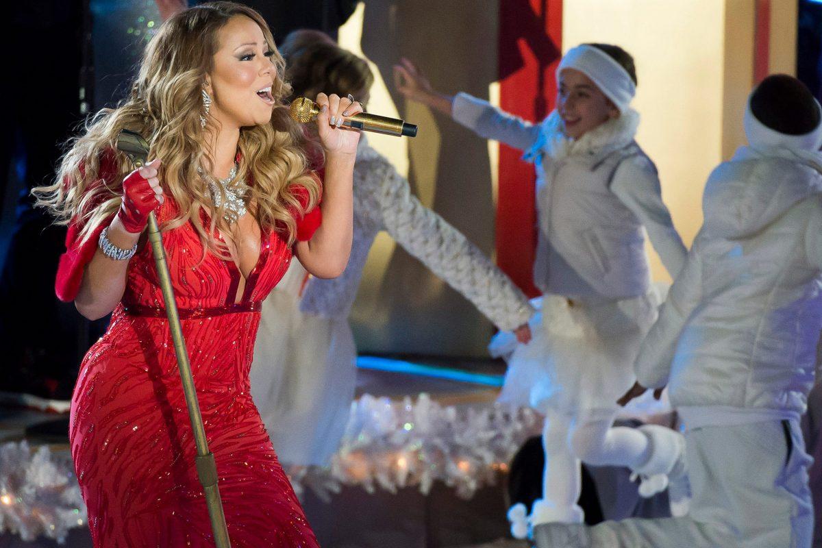 Mariah Carey at the Rockefeller Center Christmas tree lighting ceremony in New York in 2014.