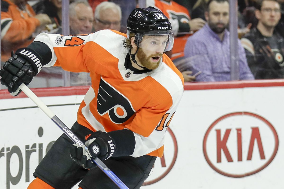 Center Sean Couturier leads the Flyers with 10 goals and a plus-13 rating.
