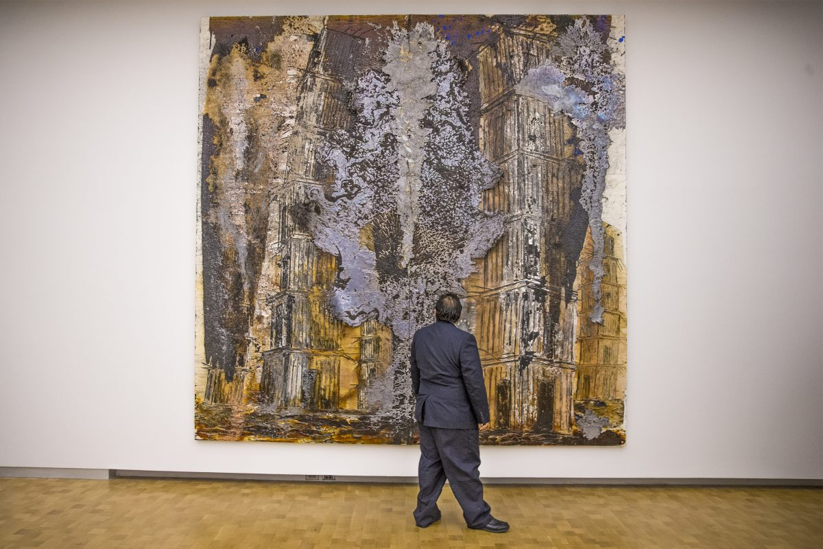 "Anselm Kiefer's ""August Rodin: les Cathedrales de France (2016, oil, acrylic, shellac and lead on canvas) gets a close inspection at the press opening Thursday for the 'Kiefer Rodin' exhibition at the Barnes Foundation (MICHAEL BRYANT / Staff Photographer)"