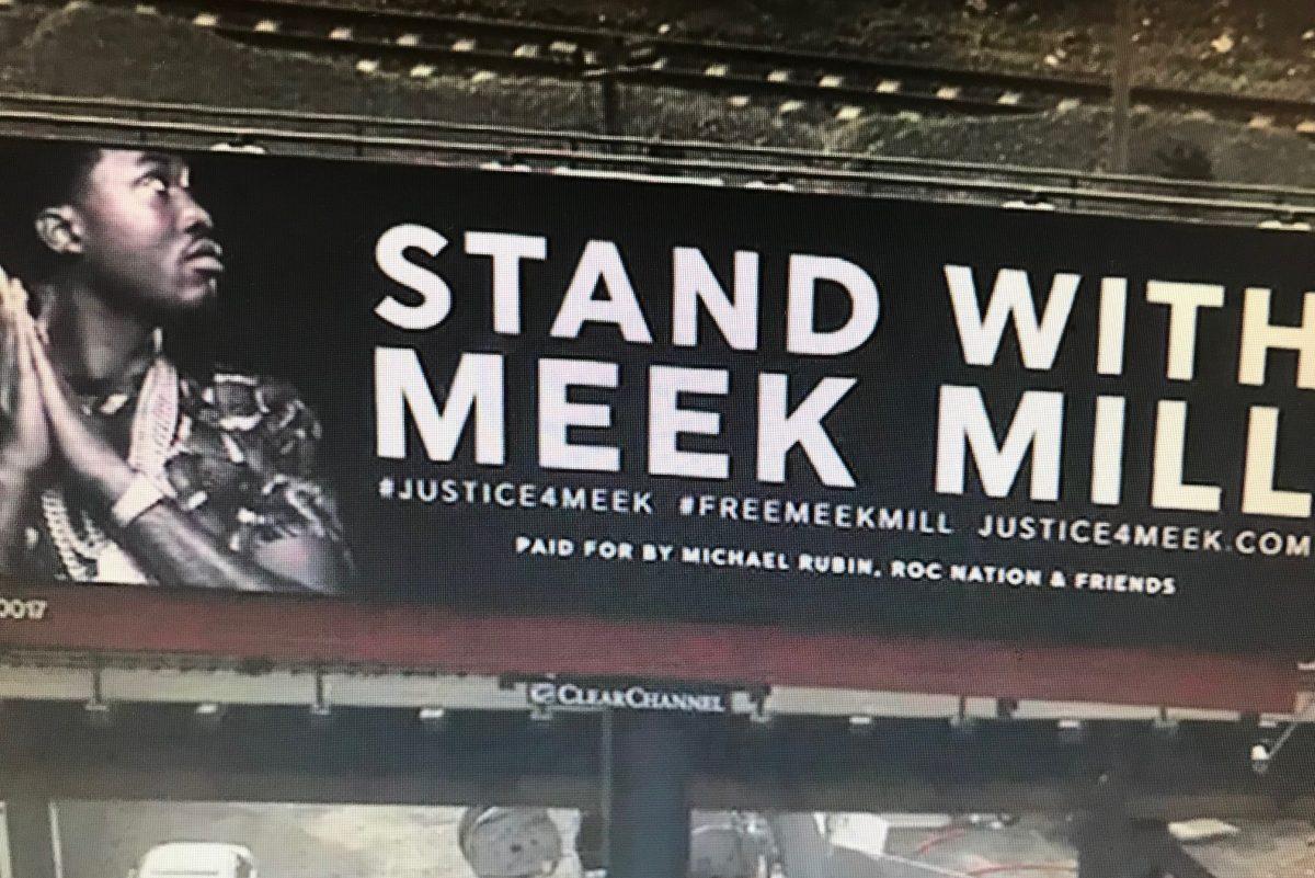 A billboard in support of Meek Mill