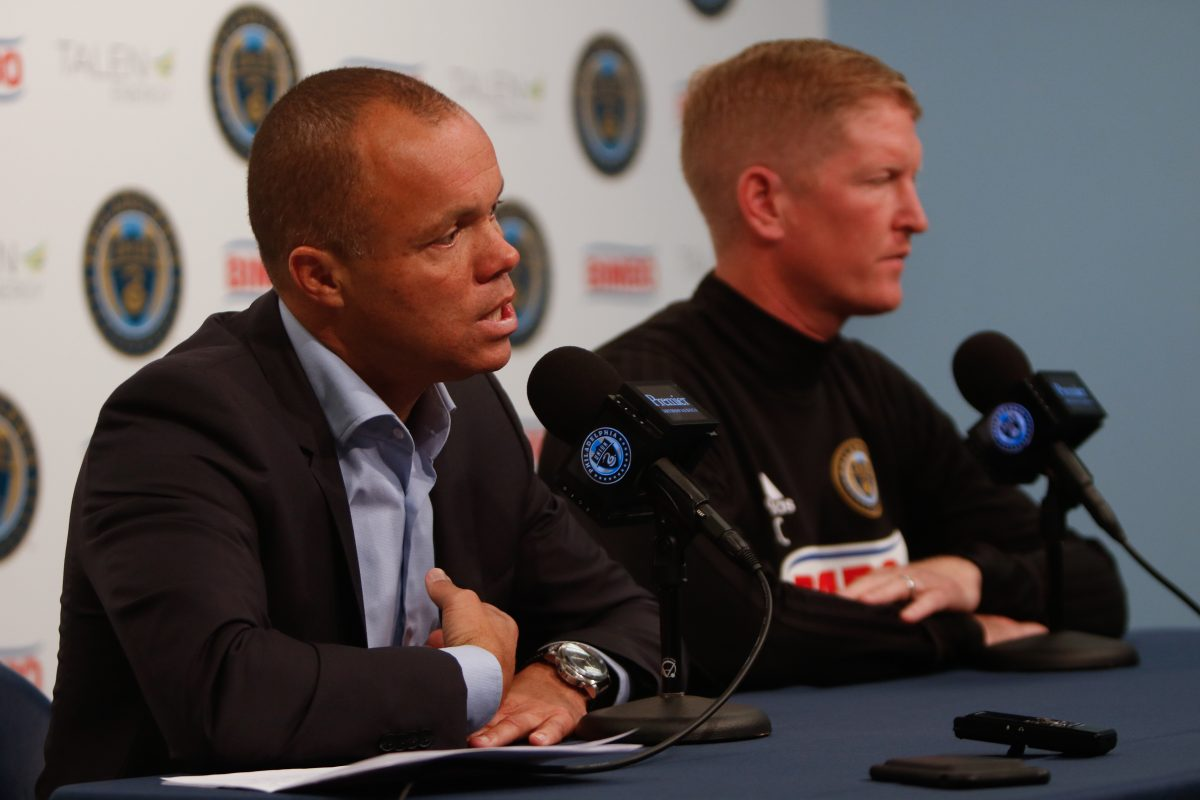 Philadelphia Union sporting director Earnie Stewart (left) and manager Jim Curtin (right).