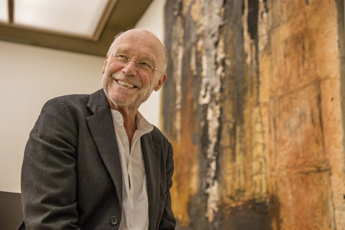 German painter Anselm Kiefer is all smiles as he talks about his work before the opening of the Kiefer-Rodin exhibition at the Barnes Foundation.