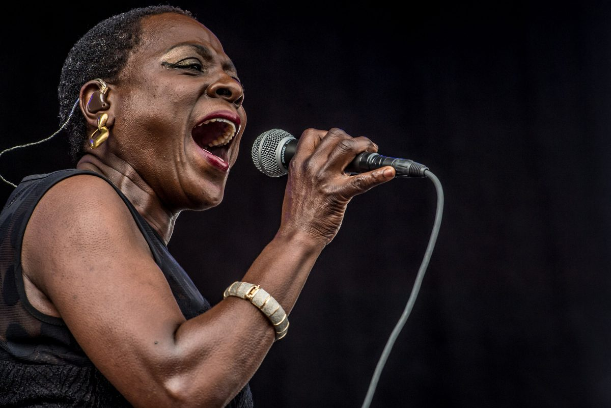 Sharon Jones & The Dap Kings perform at Forecastle Festival on July 19, 2014 in Louisville, Kentucky. Jones has died at the age of 60 after a heroic battle against pancreatic cancer on November 18, 2016.