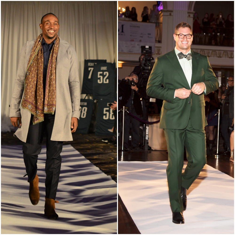 Alshon Jeffrey and Brent Celek walking the Fashion Touchdown runway in Robbini Bepoke. Photo of Jeffrey courtesy of Johnathan Arena. Photo of Celek courtesy of Hugh E. Dillon