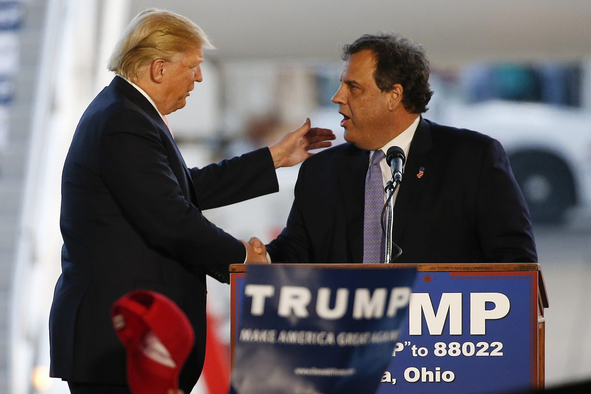 Then Republican presidential candidate Donald Trump and New Jersey Gov. Chris Christie on the campaign together during the 2016 election.