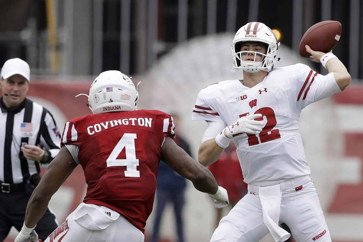 Wisconsin quarterback Alex Hornibrook (12) will lead the No. 5 Badgers against No. 19 Michigan this weekend.