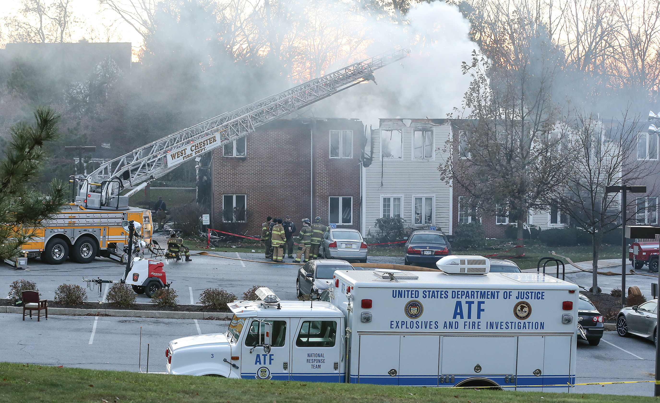 5-alarm blaze at the Barclay Friends Home in West Chester, Friday, November 17, 2017. STEVEN M. FALK / Staff Photographer