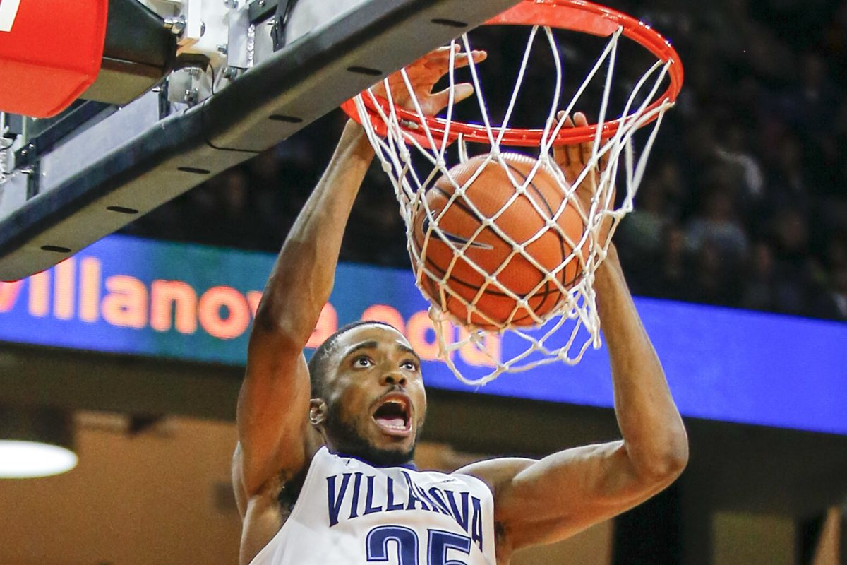 Villanova guard Mikal Bridges dunks the basketball during the second half against Lafayette on Friday.