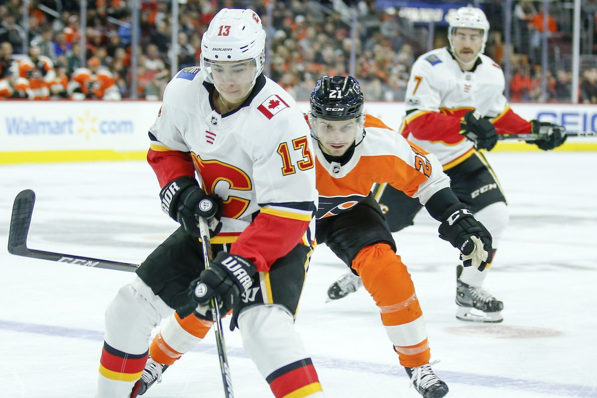Calgary left winger Johnny Gaudreau, a South Jersey native, had three points in the Flames' 5-4 overtime win over the Flyers on Saturday.