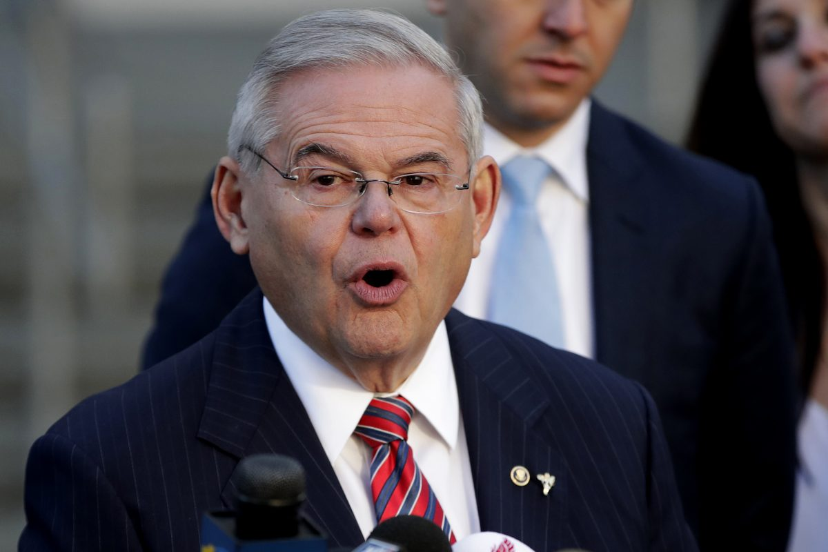 U.S. Sen. Bob Menendez speaks to reporters outside Martin Luther King Jr. Federal Courthouse after U.S. District Judge William H. Walls declared a mistrial in Menendez's federal corruption trial.