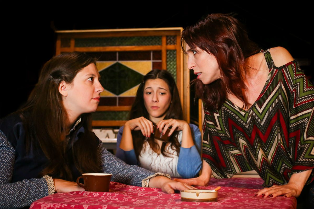 """(Left to right:) Colleen Hughes, Tessa Kuhn, and Rachel Gluck in the Curio Theatre Company production of """"Crimes of the Heart,"""" through Dec. 9."""