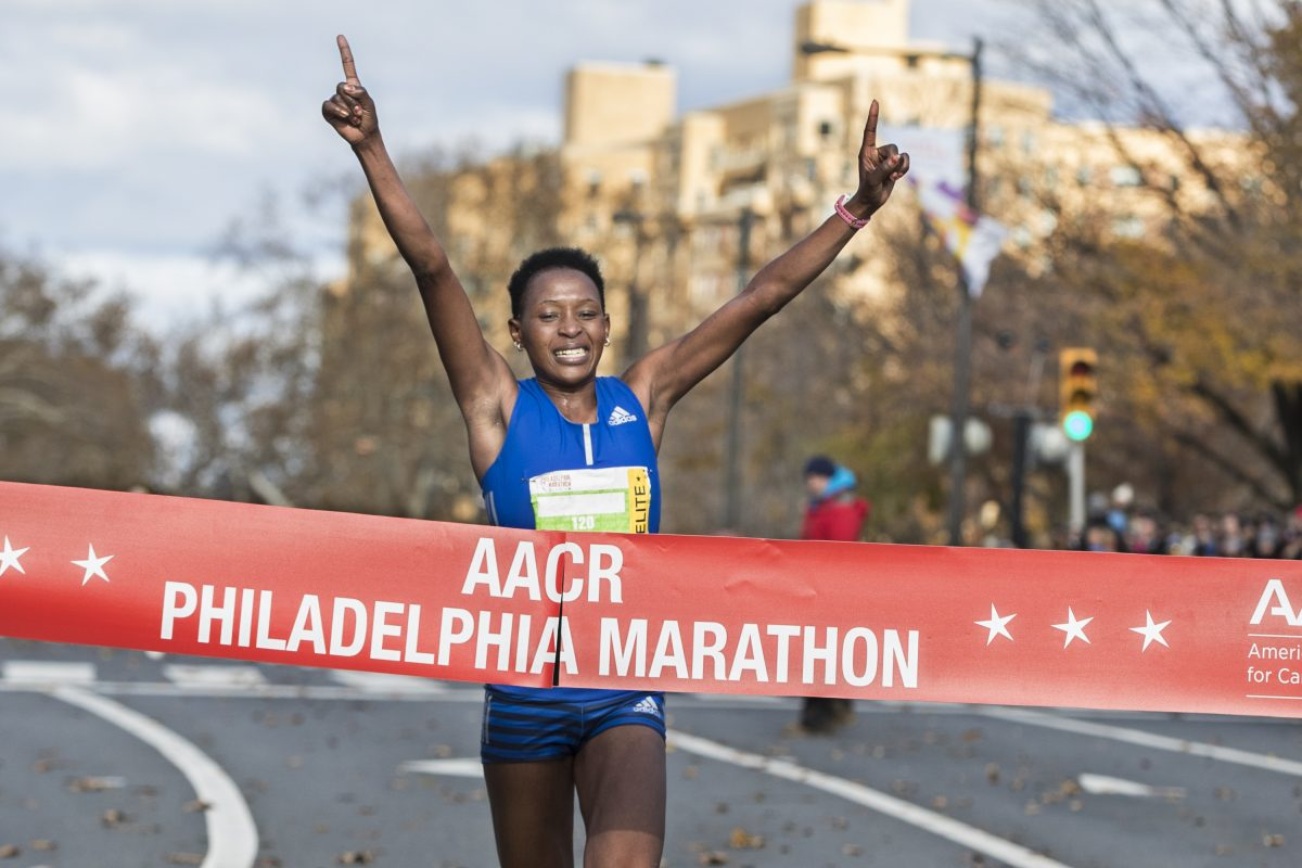 Sarah Kiptoo crosses the finish line on Sunday, Nov. 19, 2017, with a time of 2 hours 23 minutes and 14 seconds, to win the women's division of the Philadelphia Marathon.