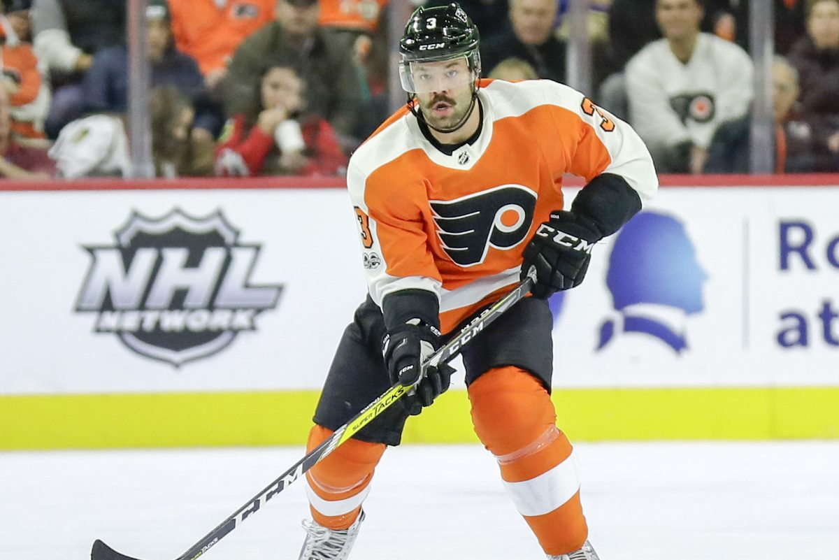 Flyers defenseman Radko Gudas skates with the puck against the Blackhawks on Nov. 9.