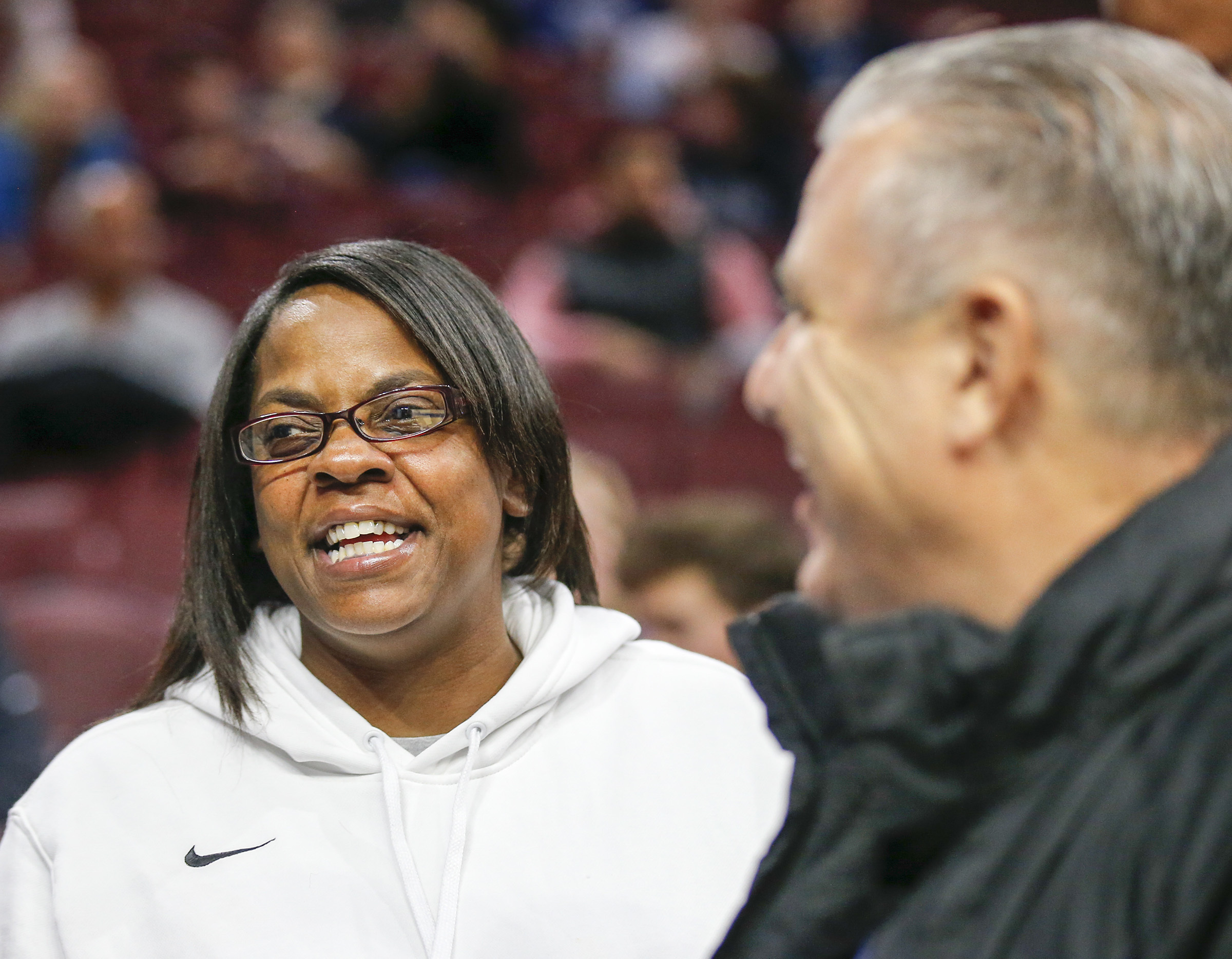 Ayesha Cosby Cosby-Roundtree, mother of Villanova forward Dhamir Cosby-Roundtree, smiles standing next to Neumann-Goretti boy´s head basketball coach Carl Arrigale before Villanova played Columbia on Friday, November 10, 2017 in Philadelphia. Arrigale coached Dhamir Cosby-Roundtree in high school. YONG KIM / Staff Photographer