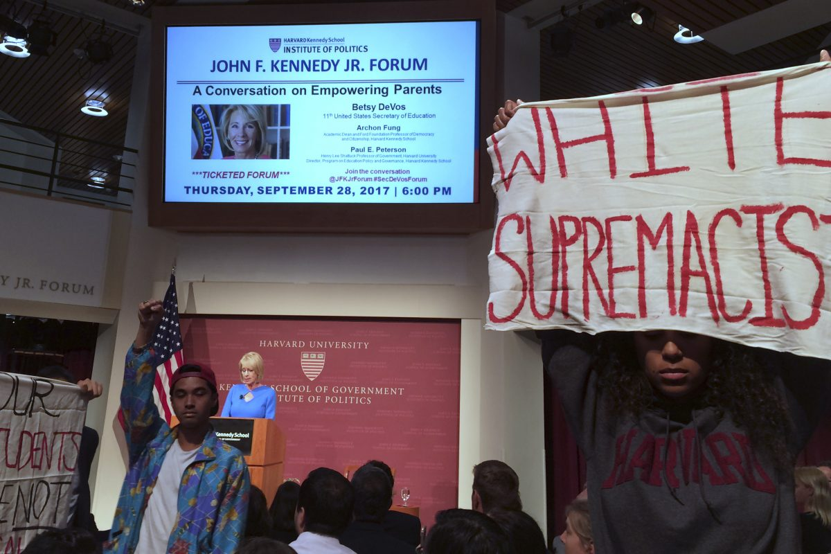 Education Secretary Betsy DeVos, the target of protesters last month at Harvard University, could help end school segregation but has shown no interest.
