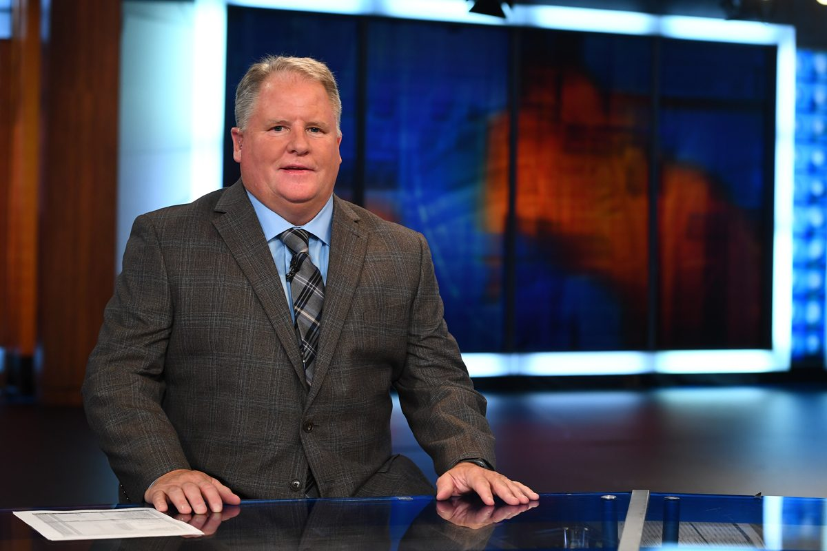 "ESPN analyst and former Eagles coach Chip Kelly on the set of ""College Football Scoreboard"" in Bristol, Conn."