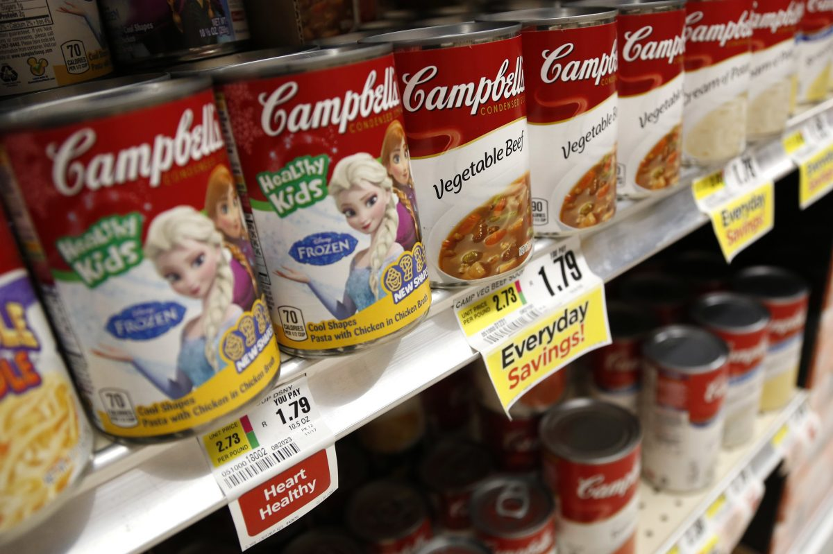 Campbell Soup Co. reported disappointing earnings Tuesday. Shown here are cans of Campbell's soup at a supermarket in Englewood, N.J.