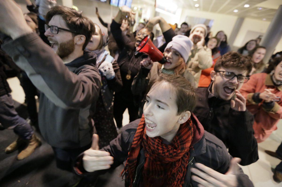 Demonstrators at Philadelphia International Airport.