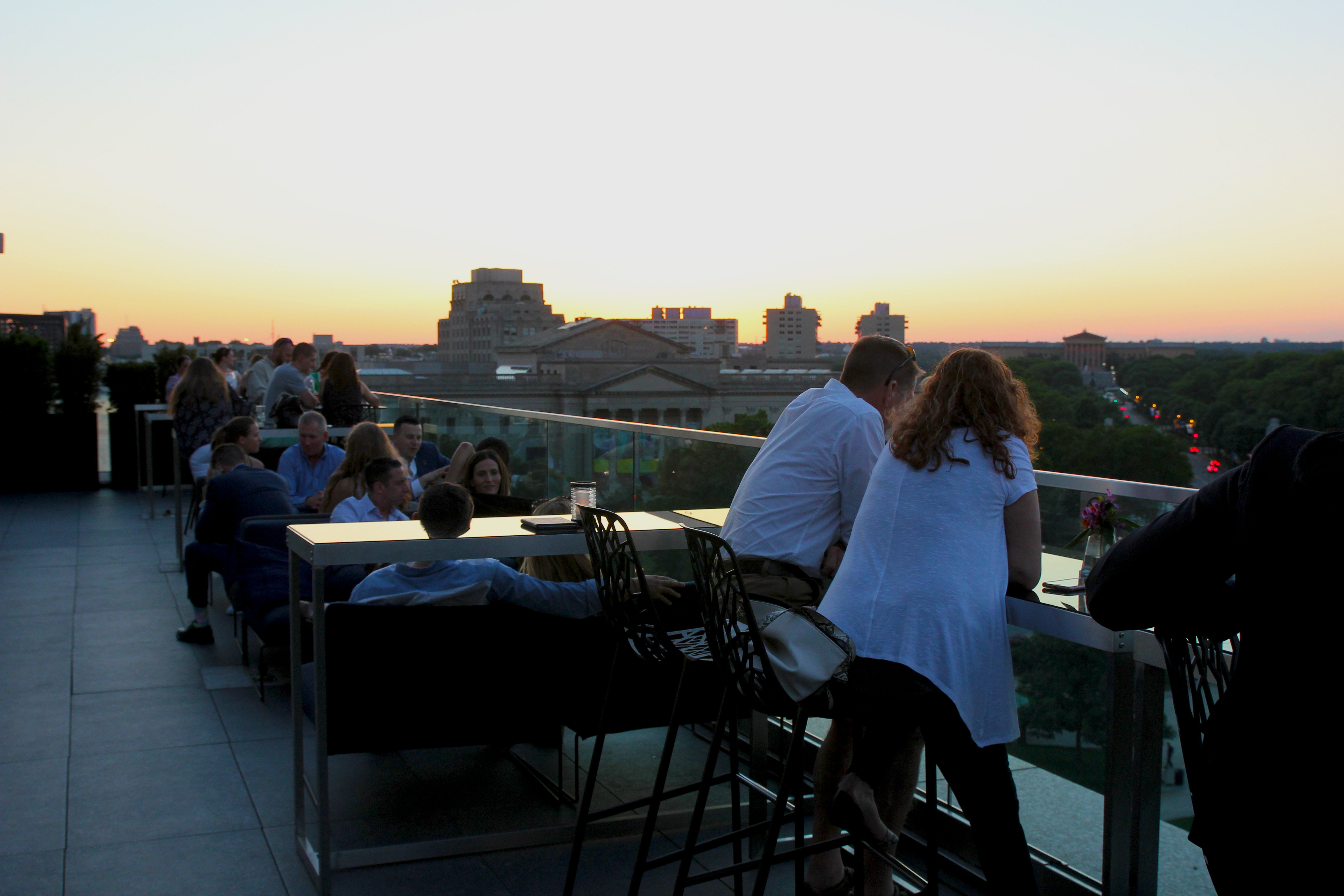 Views of the Parkway just before sunset from Assembly Rooftop Lounge atop the Logan hotel, 18th Street and Parkway.