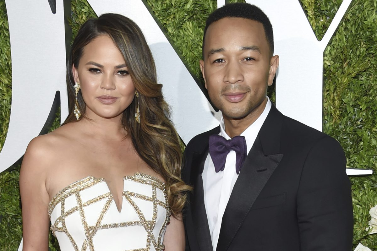 Chrissy Teigen, left and John Legend arrive at the 71st annual Tony Awards at Radio City Music Hall on Sunday, June 11, 2017, in New York.