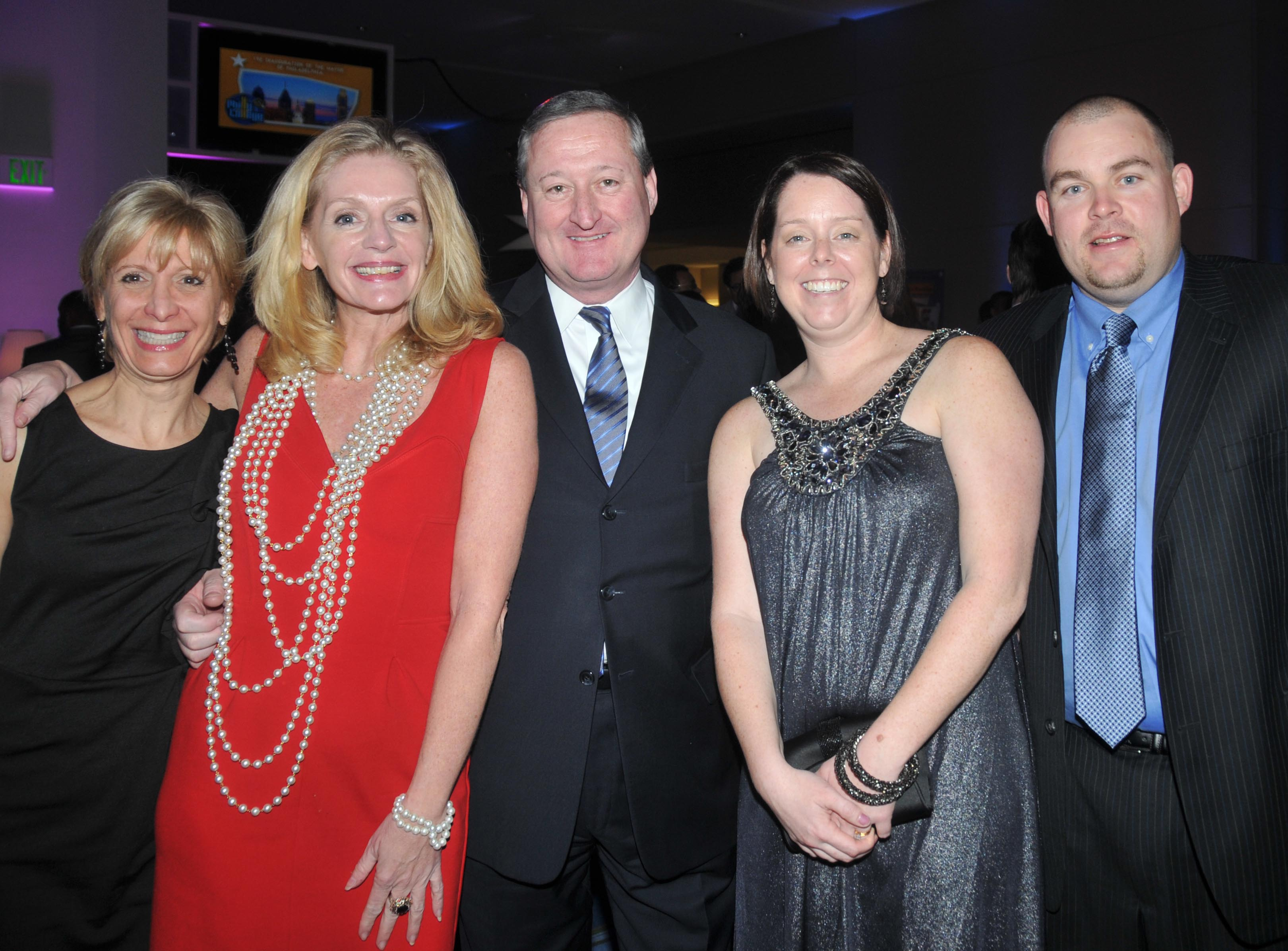 Diane Reott, Mollie McEnteer, then-Councilman James Kenney, and Beth and John Brennan at the 192nd Mayoral Inauguration for Michael Nutter in January 2012.