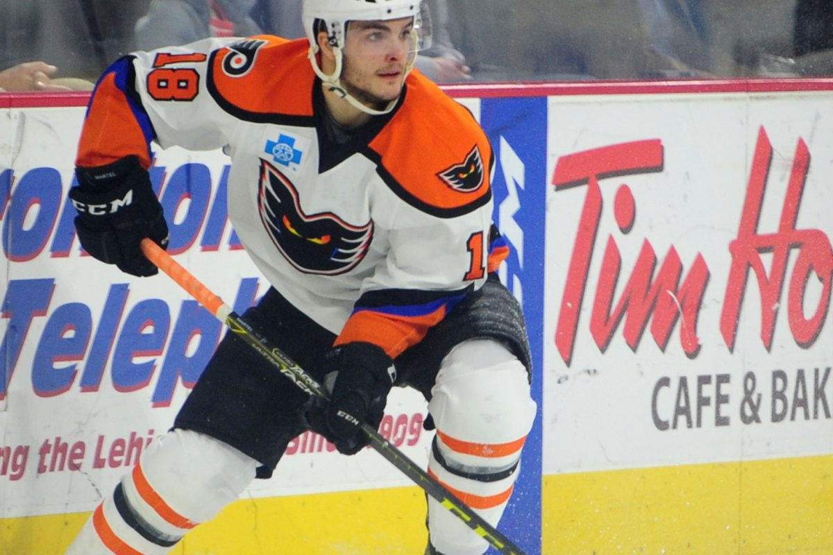Left winger Danick Martel (18), shown with the Phantoms, gave the Flyers' second line a boost in his NHL debut Wednesday.