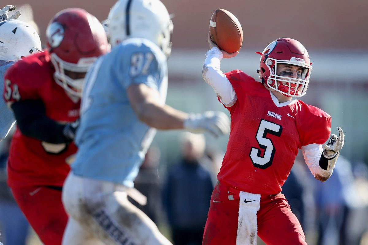 Senior quarterback Matt Lajoie threw three touchdown passes as Lenape beat Shawnee 45-0 on Thanksgiving.