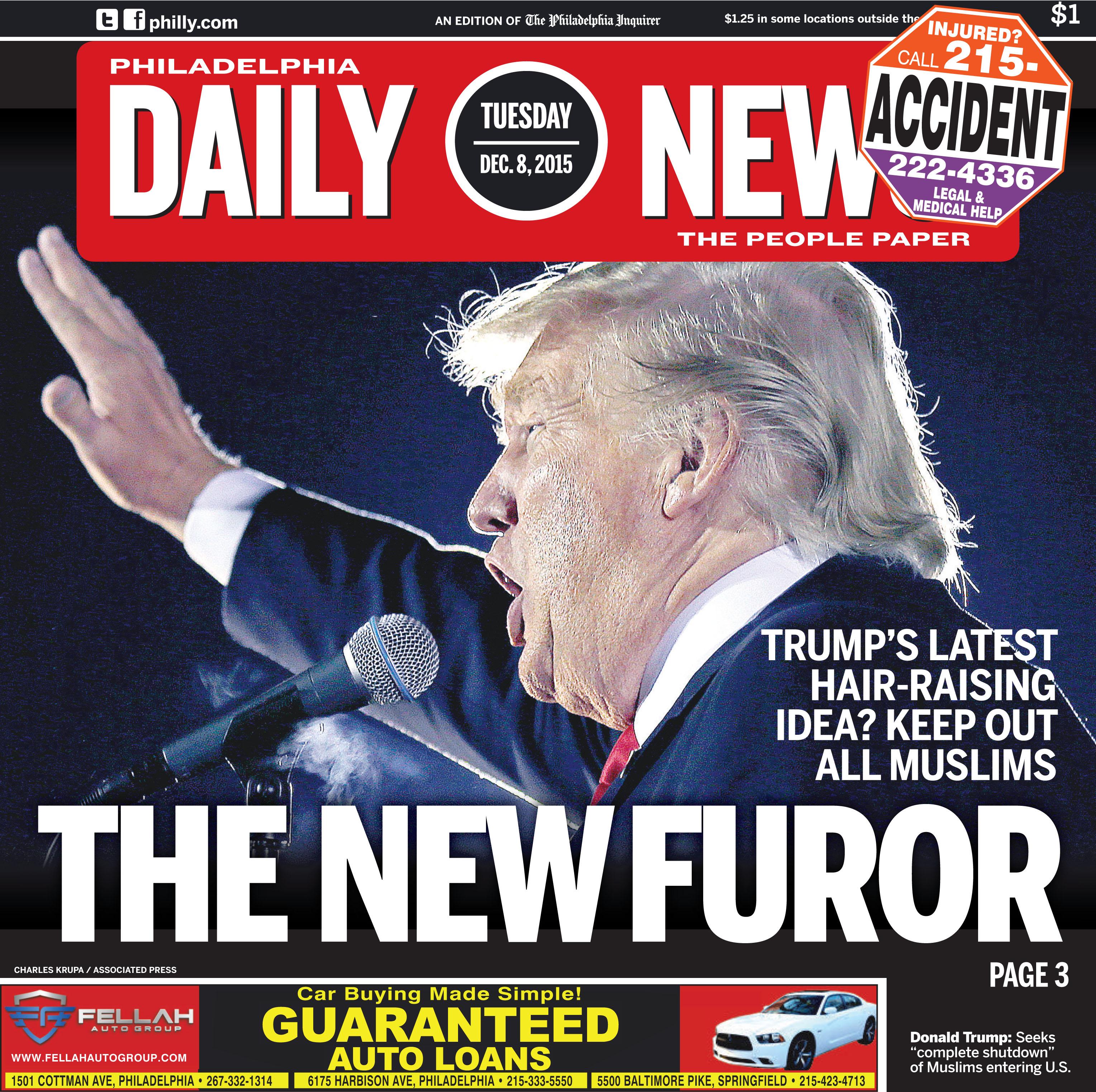 """The Furor"" cover of Philadelphia Daily News"